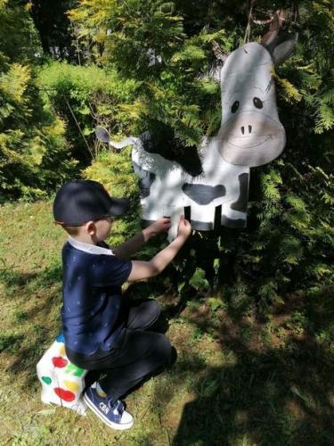 chlapec dojí kravu